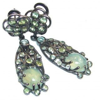 Stunning Authentic Prehnite Black rhodium over .925 Sterling Silver handmade earrings