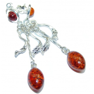 Long Baltic Polish Amber .925 Sterling Silver earrings