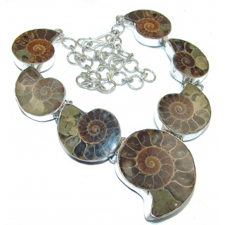 81.5g Aura Of Beauty genuine Ammonite .925 Sterling Silver handcrafted Necklace