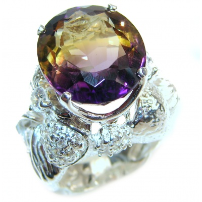 Royal design Rainbow Ametrine .925 Sterling Silver handmade Ring size 7