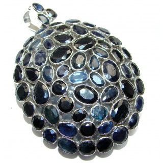 Large Beauty genuine Sapphire .925 Sterling Silver handmade Pendant - Brooch