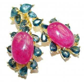 Stunning Authentic Ruby Grandidierite 18K Gold over .925 Sterling Silver handmade earrings