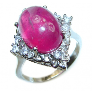 Large 26ctw Mesmerizing authentic Ruby .925 Sterling Silver handmade Ring size 7