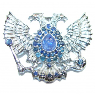 Russian National Emblem genuine Sapphire .925 Sterling Silver handmade Pendant - Brooch