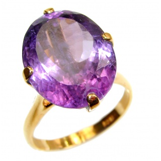 25ctw Purple Perfection Amethyst 18K Gold over .925 Sterling Silver Ring size 8 3/4