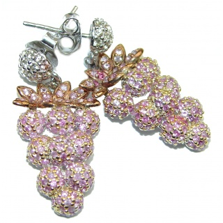 Incredible Grapes quality Pink Sapphire .925 Sterling Silver handcrafted earrings