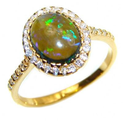Vintage Design 2.5ctw Genuine Black Opal 14K Gold over .925 Sterling Silver handmade Ring size 8