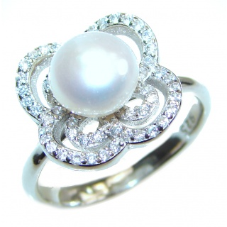 Fresh water Pearl .925 Sterling Silver handmade ring size 7 1/2