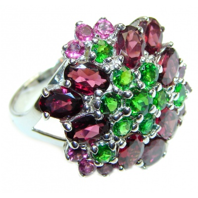 Large Genuine Chrome Diopside Garnet .925 Sterling Silver handcrafted Statement Ring size 8