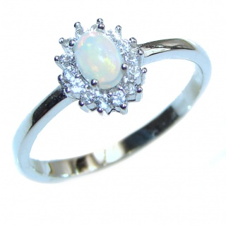 Perfection Genuine Mexican Opal Tanzanite .925 Sterling Silver handmade Ring size 9