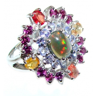 Fancy Black Opal multicolor Sapphire .925 Sterling Silver handcrafted ring size 9