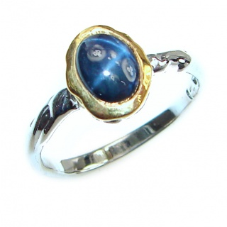 Great star Sapphire 2tones .925 Sterling Silver Ring size 6 3/4