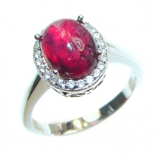 Genuine 5 ctw Kashmir Ruby .925 Sterling Silver handcrafted Statement Ring size 6