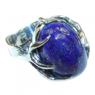 Natural Lapis Lazuli .925 Sterling Silver handcrafted ring size 9 1/4