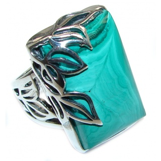 Natural Sublime quality Malachite .925 Sterling Silver handcrafted ring size 7 adjustable