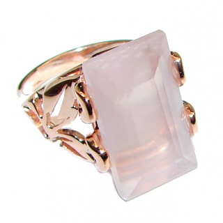 Baguette cut Rose Quartz Rose Gold over .925 Sterling Silver brilliantly handcrafted ring s. 6