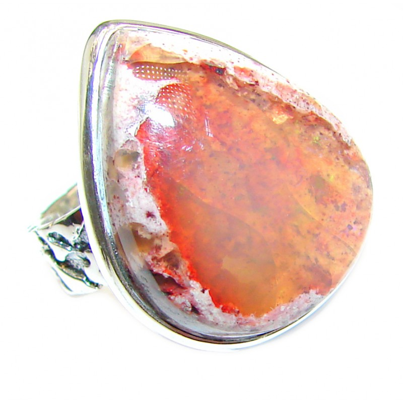 Mexican Opal .925 Sterling Silver handcrafted Ring size 8 1/4