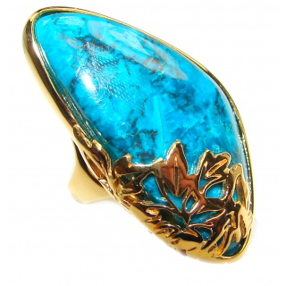 Stone Of Harmony Parrots Wing Chrysocolla 14K Gold over .925 Sterling Silver ring s. 8