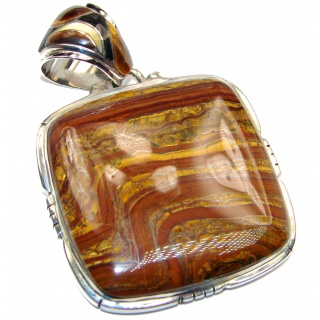 Large Incredible quality Silky Golden Tigers Eye .925 Sterling Silver handmade Pendant