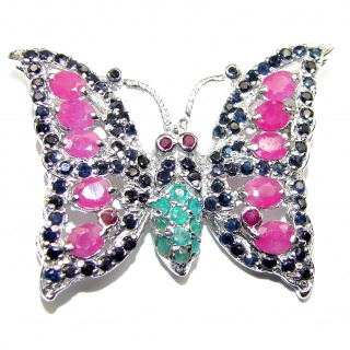 Butterfly authentic Ruby .925 Sterling Silver handmade Pendant Brooch