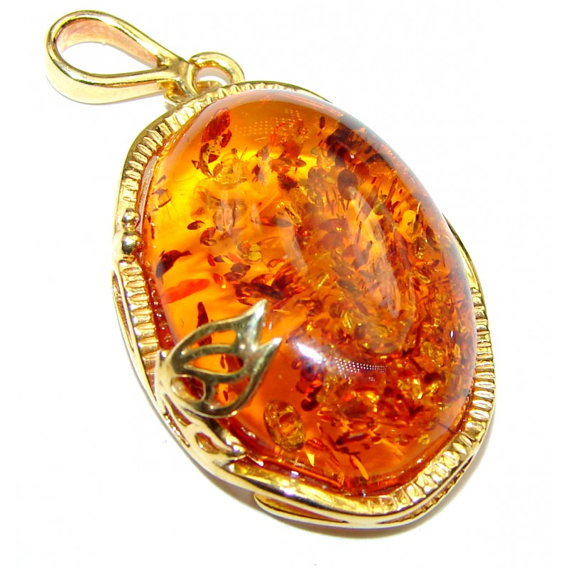 Natural Honey Baltic Amber .925 Sterling Silver handmade Pendant