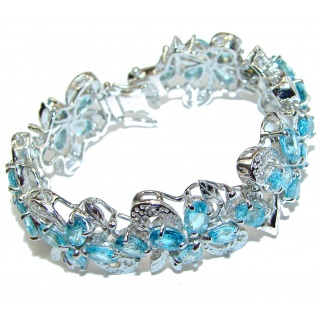 True Fine Art Swiss Blue Topaz .925 Sterling Silver handcrafted Statement Bracelet