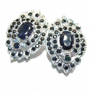 Incredible Genuine Sapphire .925 Sterling Silver handcrafted stud Earrings