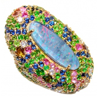 Large Australian Doublet Opal 24K Gold over .925 Sterling Silver handcrafted ring size 5