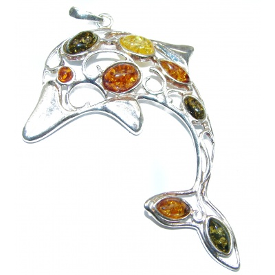 Big Dolphin Natural Honey Baltic Amber .925 Sterling Silver handmade Pendant