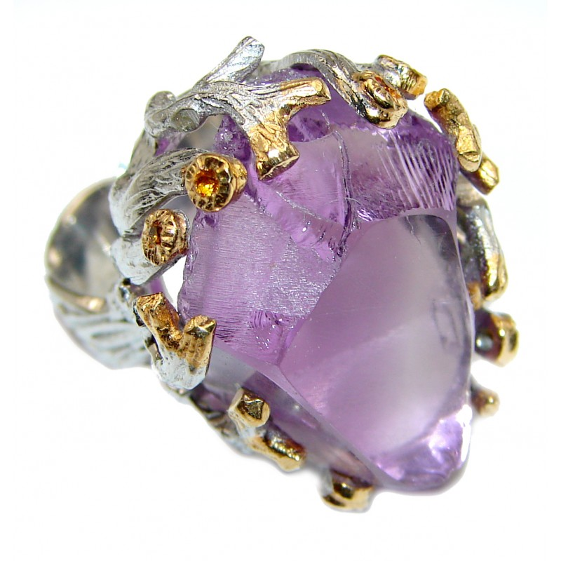 Jumbo Vintage Style Rough Amethyst .925 Sterling Silver handmade Cocktail Ring s. 6