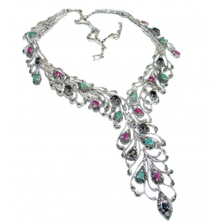 Magnificent Jewel authentic Kashmir Ruby Marcasite .925 Sterling Silver handcrafted necklace