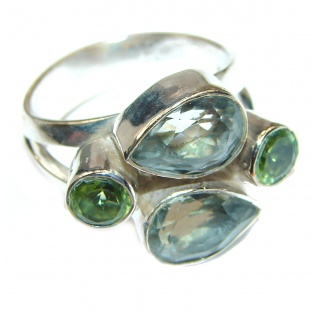 Huge Authentic green Amethyst .925 Sterling Silver handcrafted ring s. 8