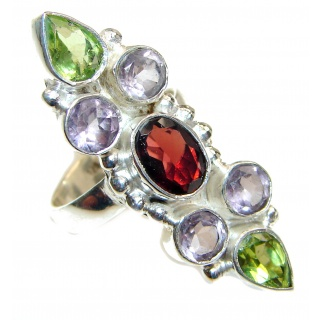 Dazzling natural Red Garnet & .925 Sterling Silver handcrafted ring size 6