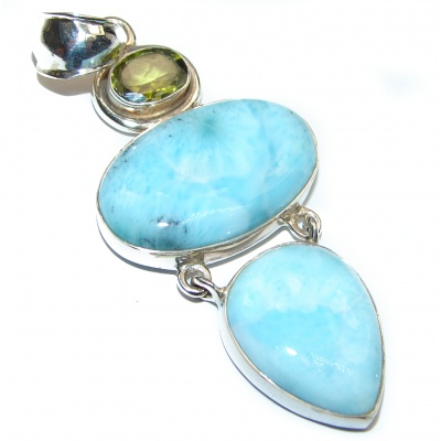 Old fashion authentic Larimar .925 Sterling Silver handmade Pendant