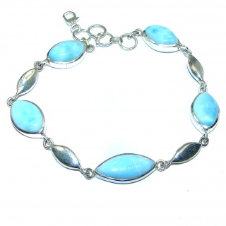 Luxury Genuine Larimar .925 Sterling Silver handmade Bracelet