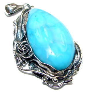 Best quality Authentic Caribbean Larimar .925 Sterling Silver handmade pendant