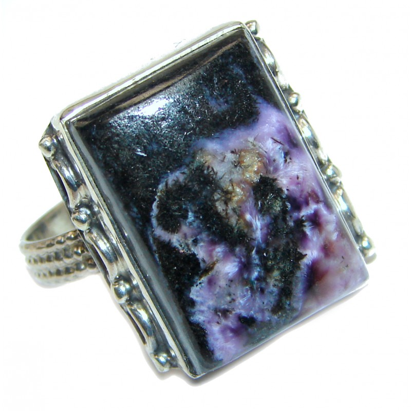 Natural Siberian Charoite .925 Sterling Silver handcrafted ring size 8 3/4
