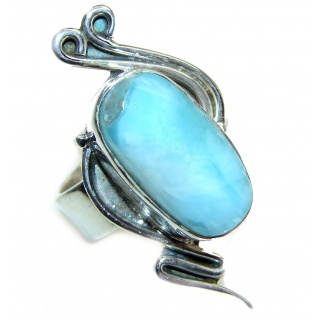 Blue Larimar Angel's Heart .925 Sterling Silver handcrafted Ring s. 7