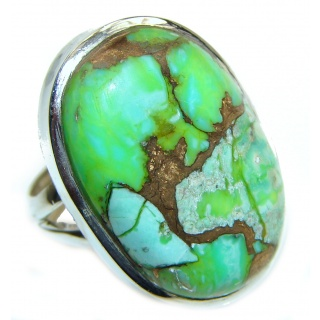 Huge Green Turquoise .925 Sterling Silver handcrafted ring; s. 6 1/4