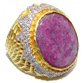 Royal Large genuine Ruby 14K Gold over .925 Sterling Silver Statement Italy made ring; s. 7 1/4