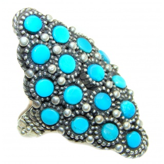 Natural Turquoise .925 Sterling Silver handmade ring s. 8 3/4