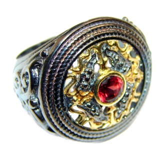 Victorian Style genuine Garnet 18K Gold over .925 Sterling Silver Ring size 7 3/4