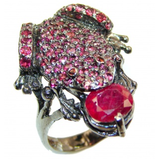 Large Frog Genuine Ruby black rhodium over .925 Sterling Silver handcrafted Statement Ring size 8 1/4