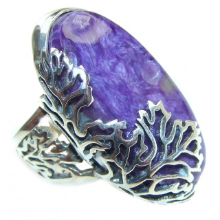 Natural Siberian Charoite .925 Sterling Silver handcrafted ring size 8 adjustable