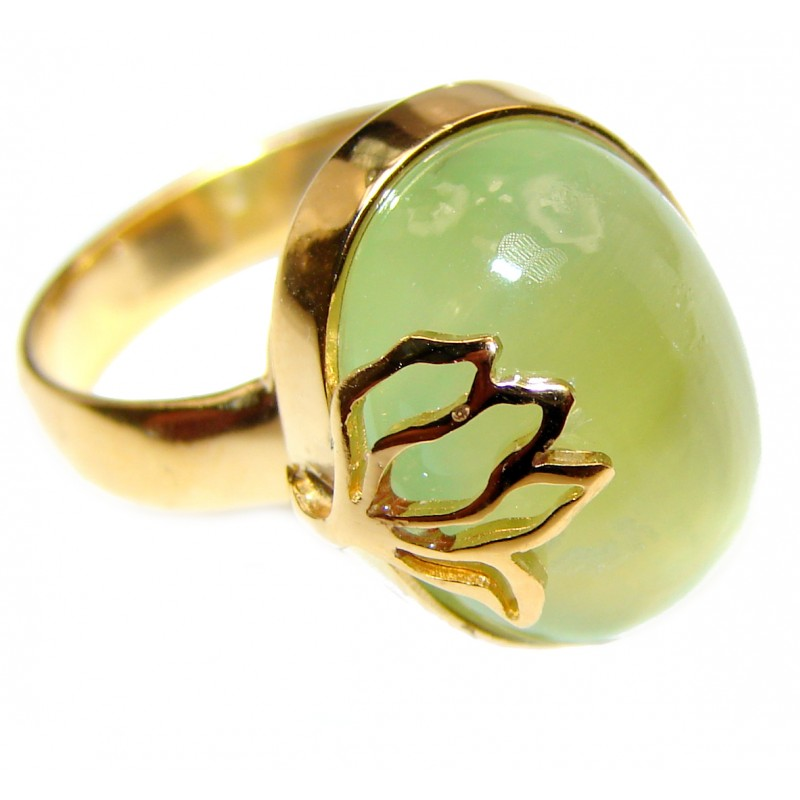 Sublime Moss Prehnite .925 Sterling Silver ring; s. 8 adjustable