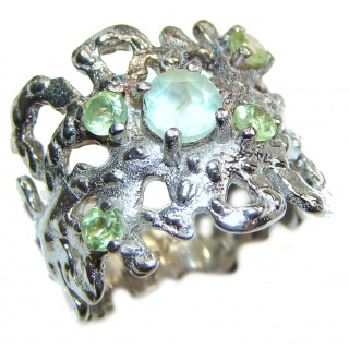 Aurora Spectacular Natural Peridot .925 Sterling Silver handcrafted ring size 7