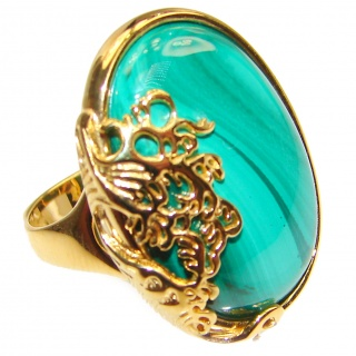 Natural Sublime quality Malachite 14k Gold over .925 Sterling Silver handcrafted ring size 7 3/4