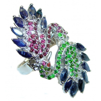 Genuine multicolor Sapphire .925 Sterling Silver handcrafted Ring size 8 3/4