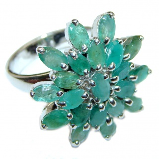 Genuine Colombian Emerald .925 Sterling Silver handcrafted Statement Ring size 7 1/4