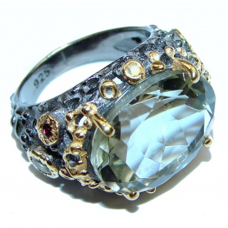 Authentic green Amethyst black rhodium .925 Sterling Silver handmade Ring size 6 3/4